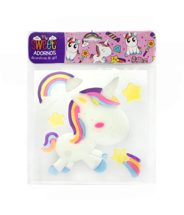 window gel cling unicorn 12/72