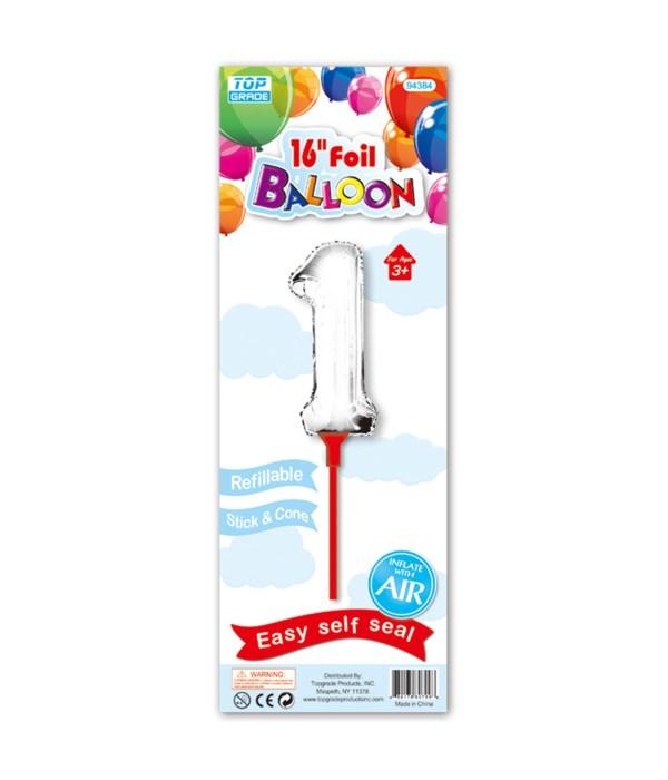 """16"""" silver foil balloon #1"""