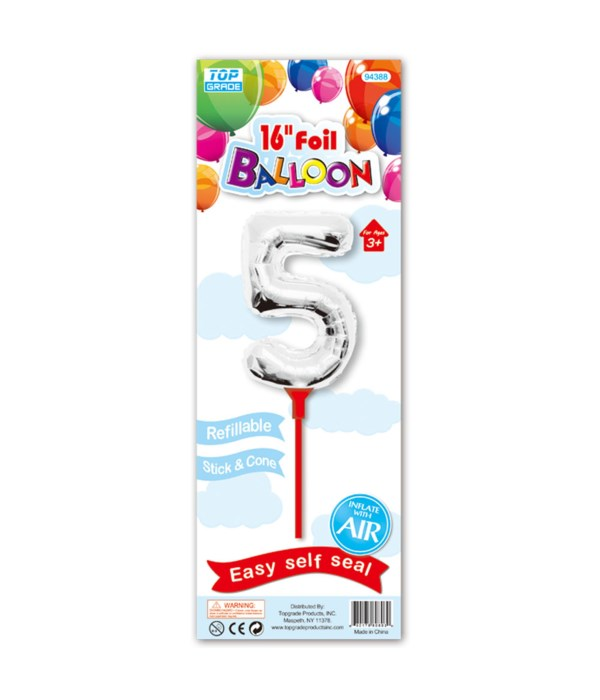 """16"""" silver foil balloon #5"""