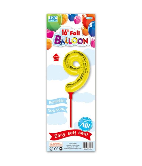 "16""gold foil balloon #9 12/300"