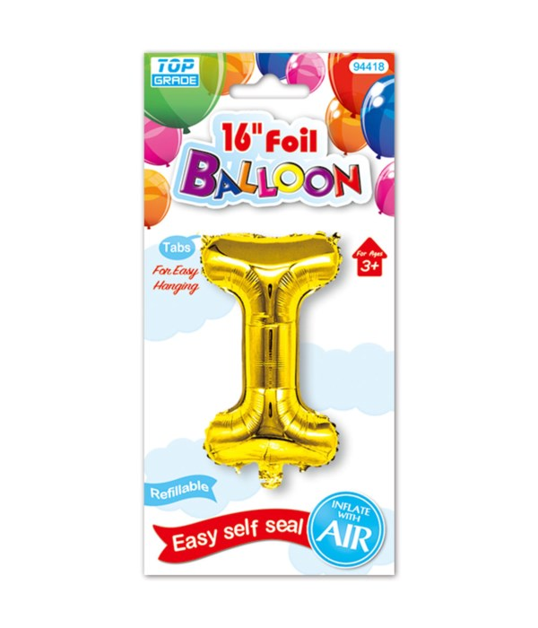 "16""foil balloon gold I 12/600s"