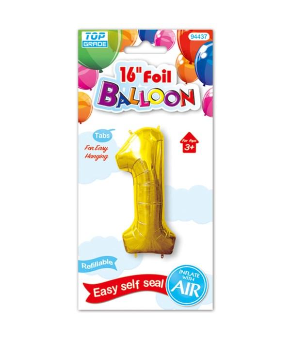"16""foil balloon gold #1 12/600"