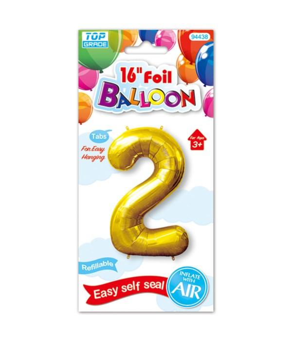 "16""foil balloon gold #2 12/600"
