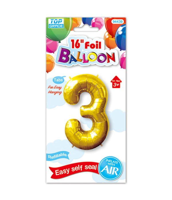 "16""foil balloon gold #3 12/600"