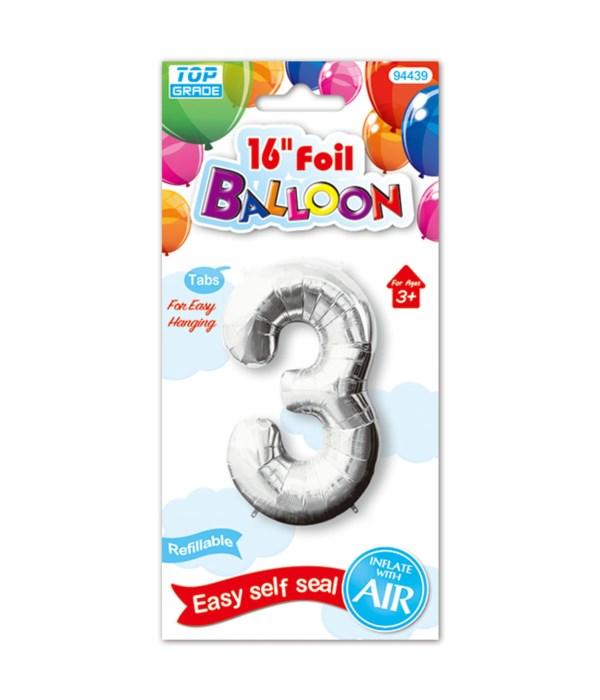 """16""""foil balloon silv #3 12/600"""