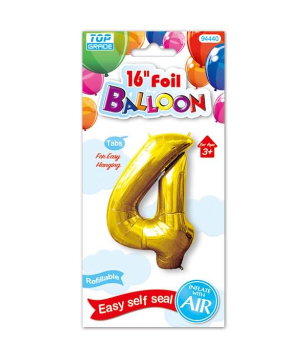 "16""foil balloon gold #4 12/600"