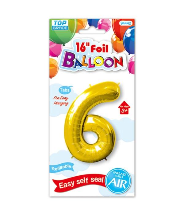 "16""foil balloon gold #6 12/600"