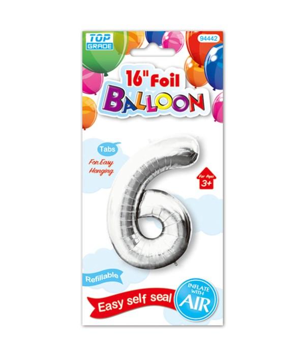 """16""""foil balloon silv #6 12/600"""