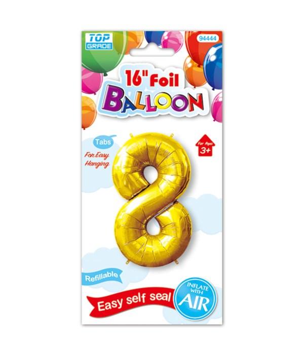 "16""foil balloon gold #8 12/600"