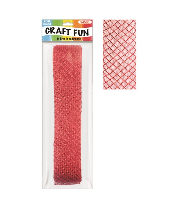 "mesh ribbon red 26ftx1.8""12/96"
