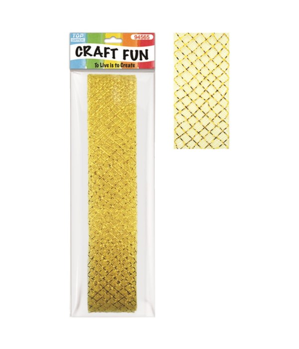 "mesh ribbon gold 26ftx1.8"""