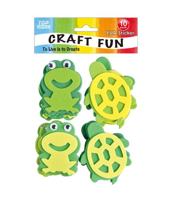 EVA sticker frog+turtle 12/144