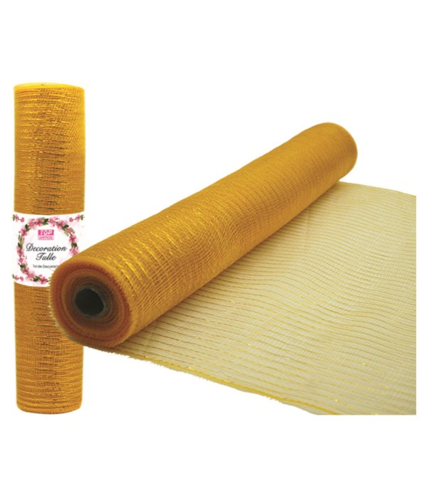 tulle fabric roll gold 12/72s