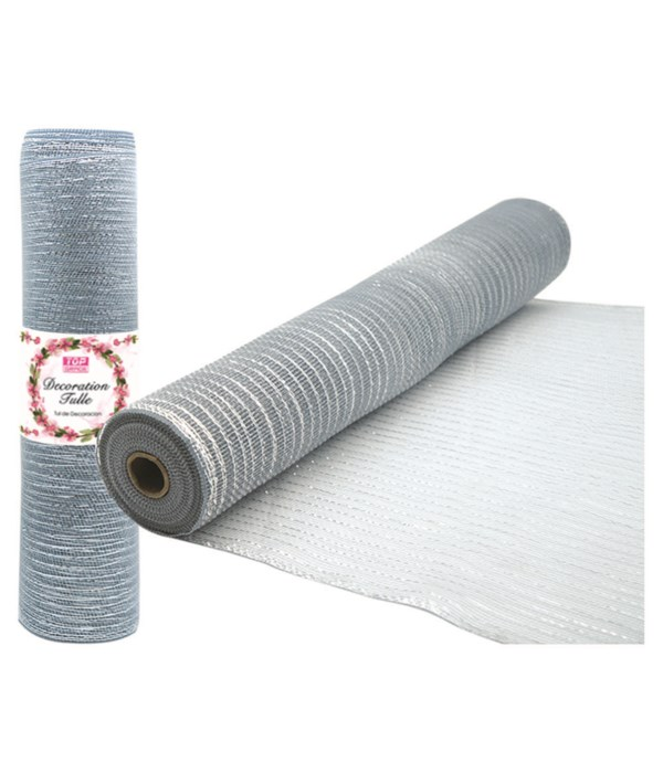 tulle fabric roll silver12/72s