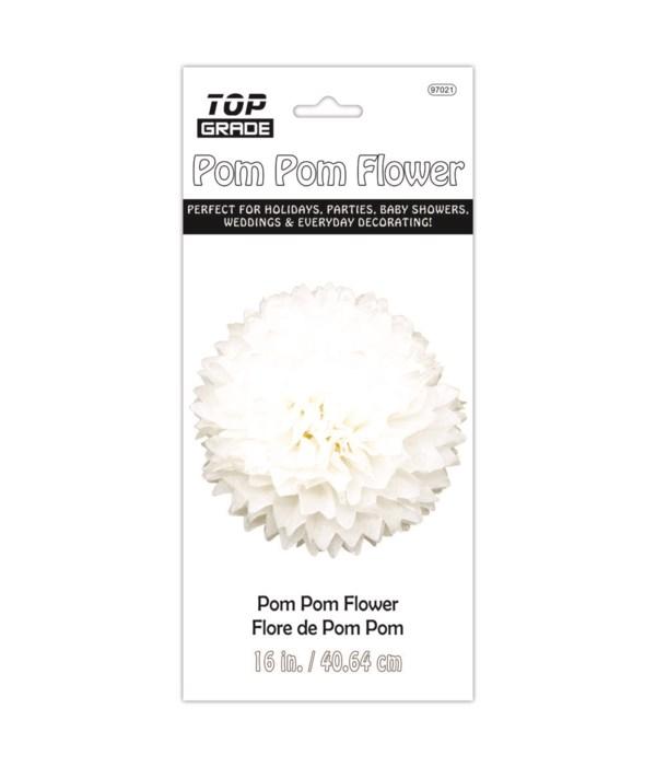 paper pom pom flower white