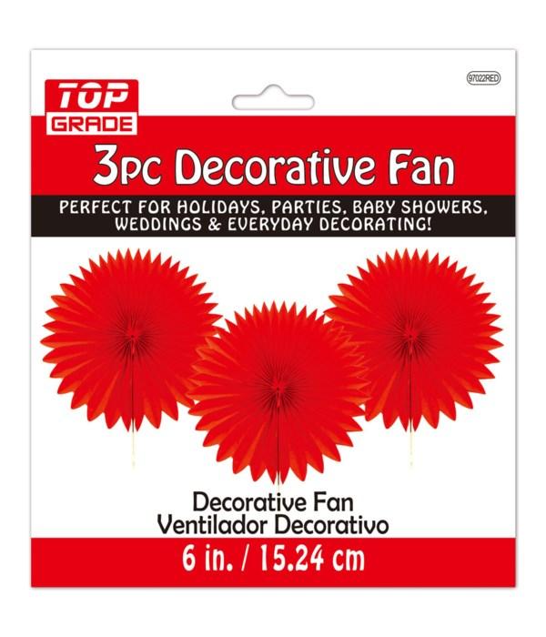 """6""""/3ct deco fan red 12/288s"""