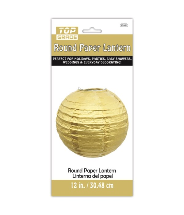 "12"" paper lantern gold 12/144s"