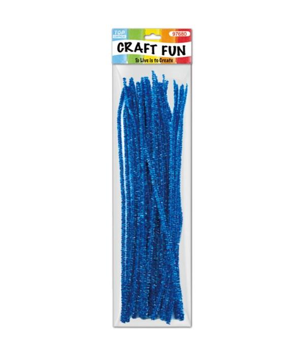 "12""/40ct tinsel stems blue"