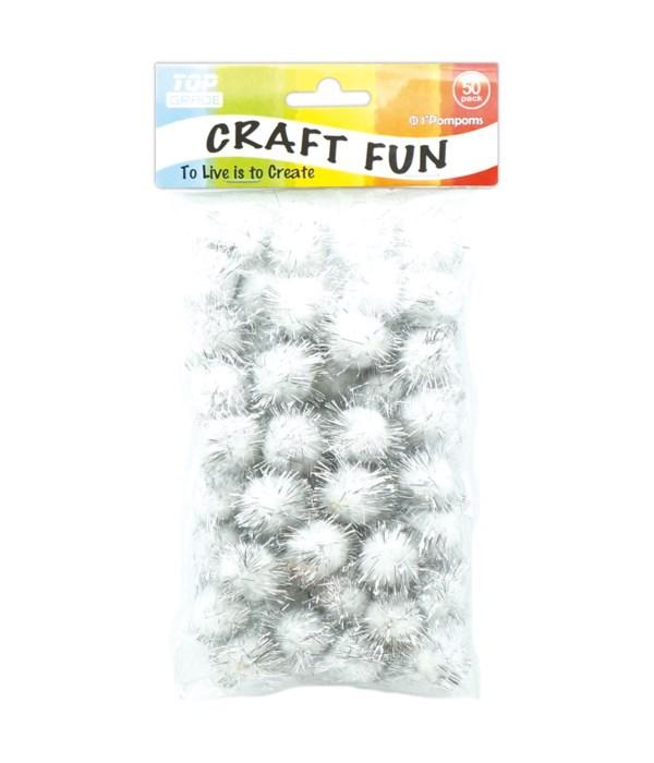 50ct Glitter Pompoms 24/144s