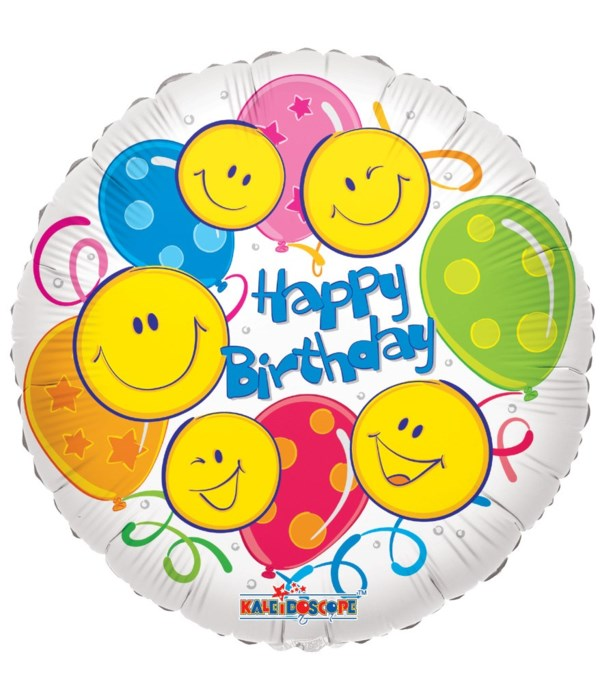 """1-side """"HB"""" smiley balloon 25s"""