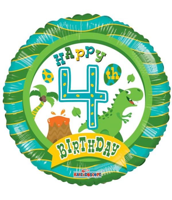 """2-side """"Happy 4th Birthday"""""""