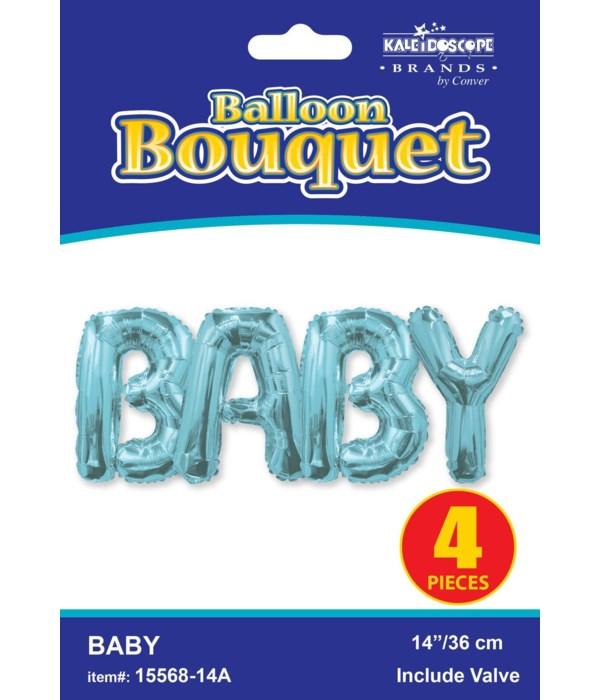 """14"""" bouquet baby blue 4 lette"""
