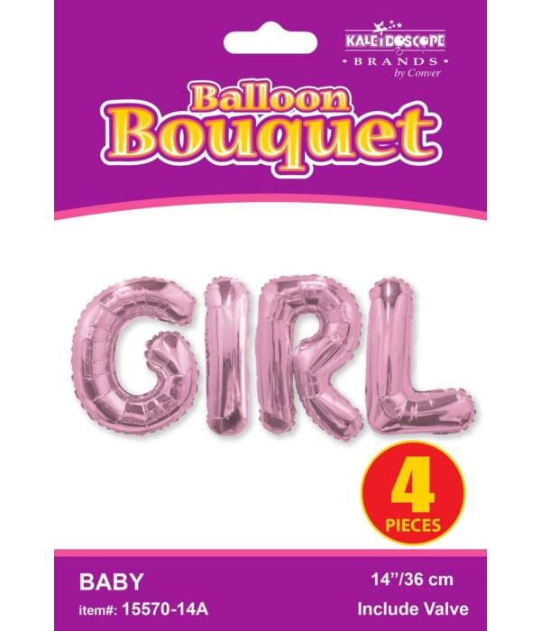 "14"" bouquet girl pink 4 lette"