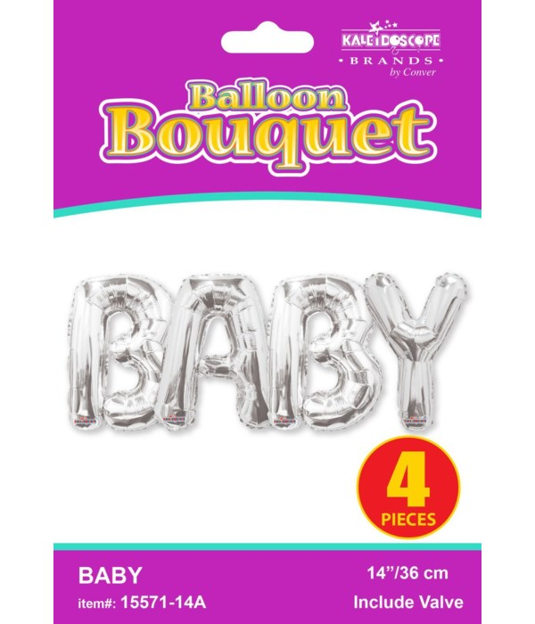 """14"""" bouquet baby silver 4"""