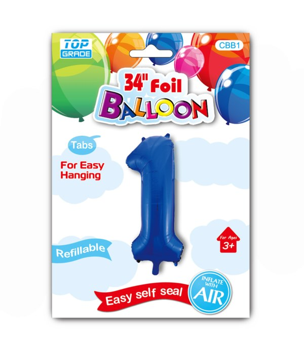 """34"""" number balloon R.blue #1"""