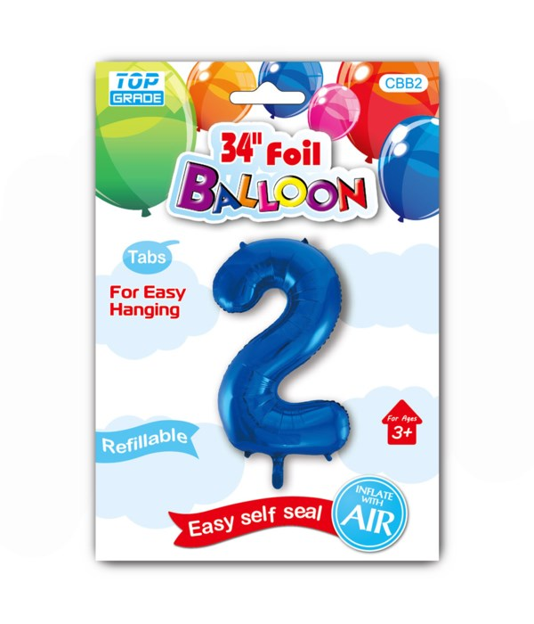 """34"""" number balloon R.blue #2"""