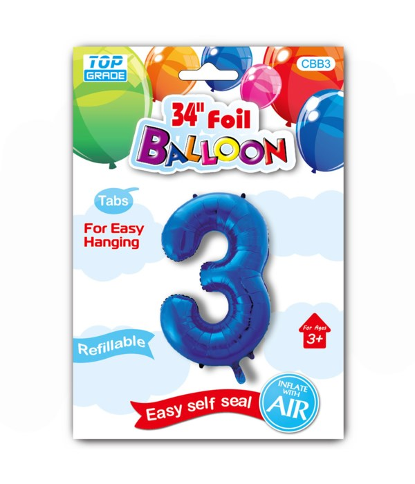 """34"""" number balloon R.blue #3"""