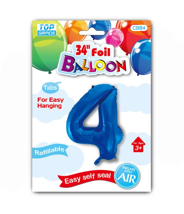 """34"""" number balloon R.blue #4"""