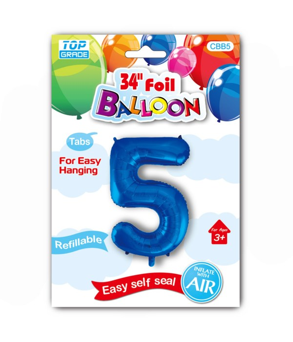 """34"""" number balloon R.blue #5"""