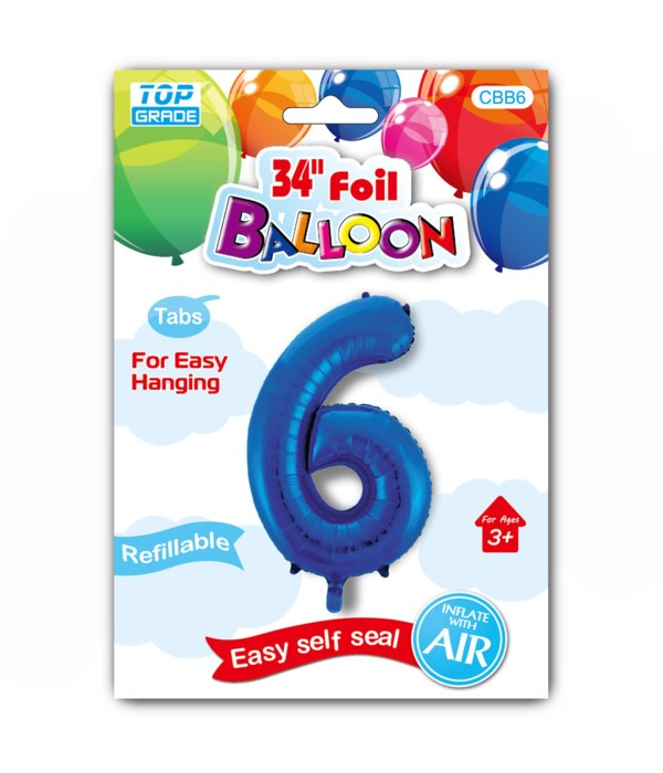 """34"""" number balloon R.blue #6"""
