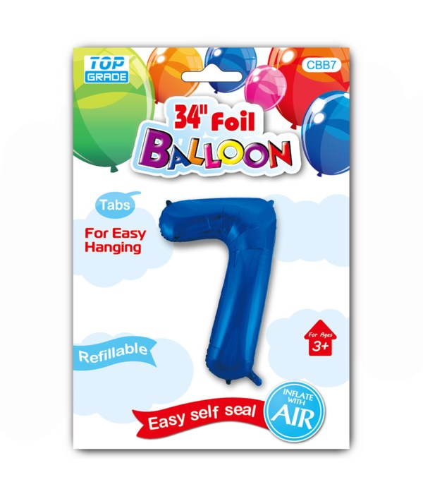 """34"""" number balloon R.blue #7"""