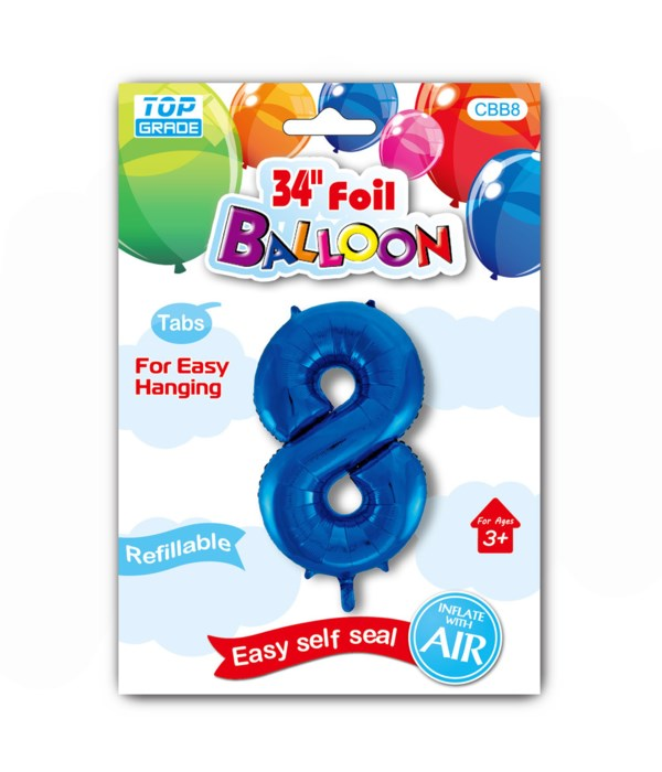 """34"""" number balloon R.blue #8"""