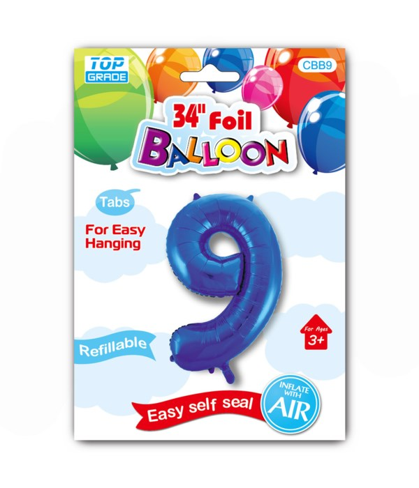 """34"""" number balloon R.blue #9"""