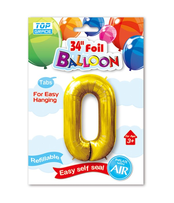"""34"""" number balloon gold #0"""