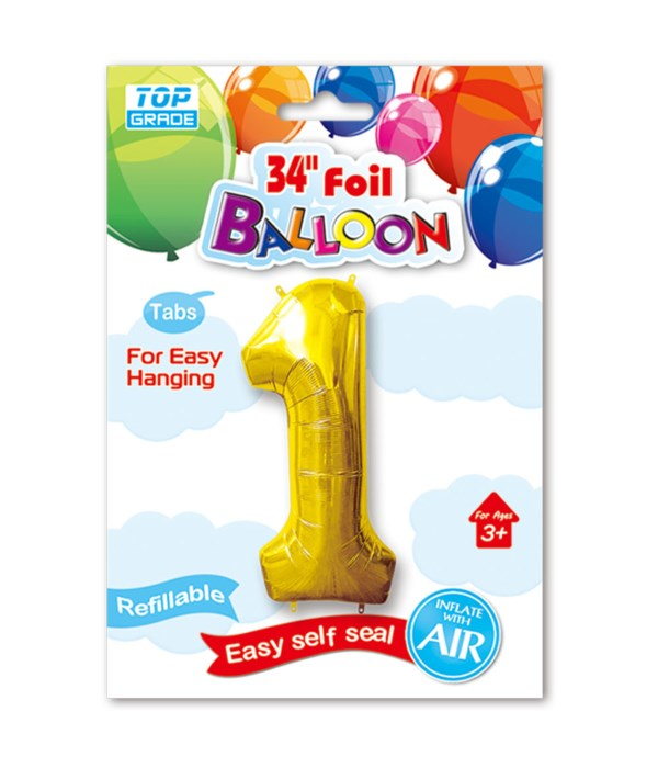 """34"""" number balloon gold #1"""