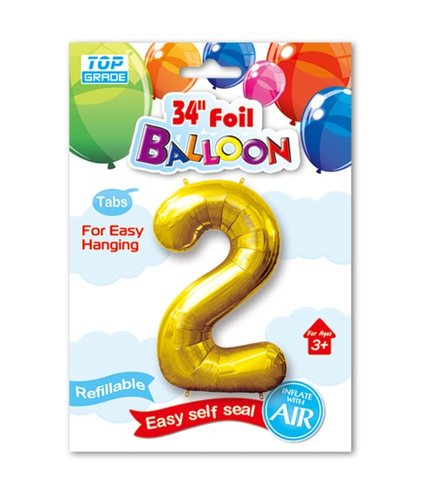 """34"""" number balloon gold #2"""
