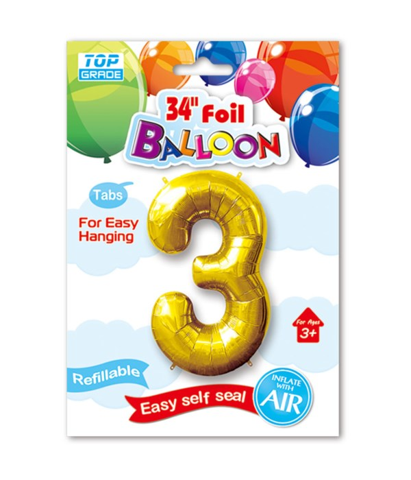 """34"""" number balloon gold #3"""