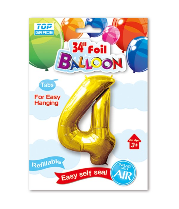 """34"""" number balloon gold #4"""