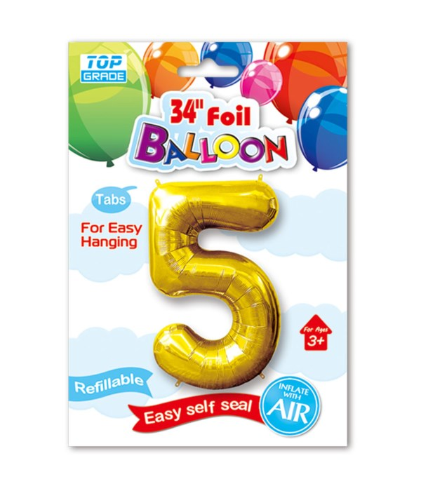 """34"""" number balloon gold #5"""