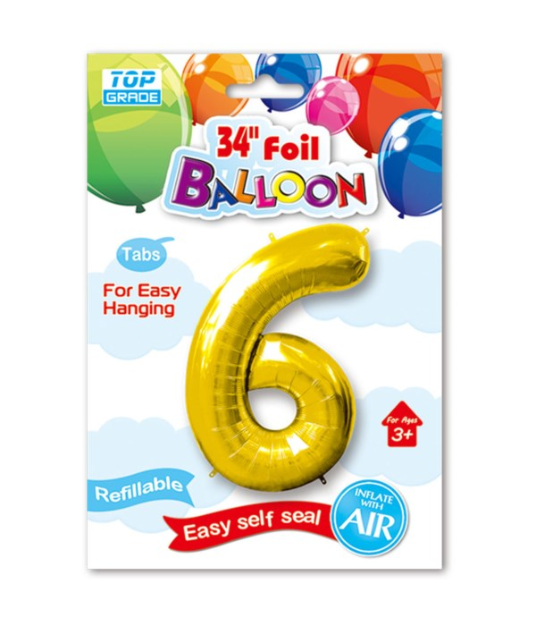 """34"""" number balloon gold #6"""