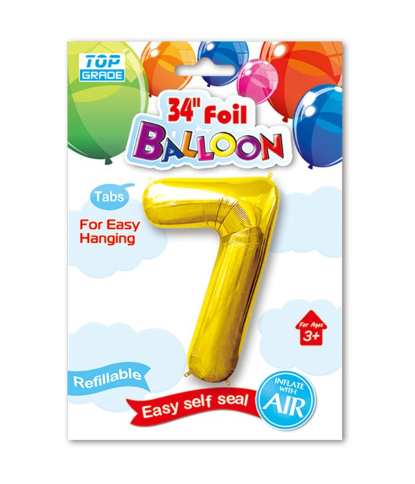 """34"""" number balloon gold #7"""