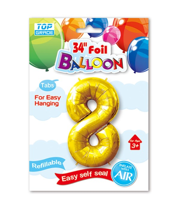 """34"""" number balloon gold #8"""