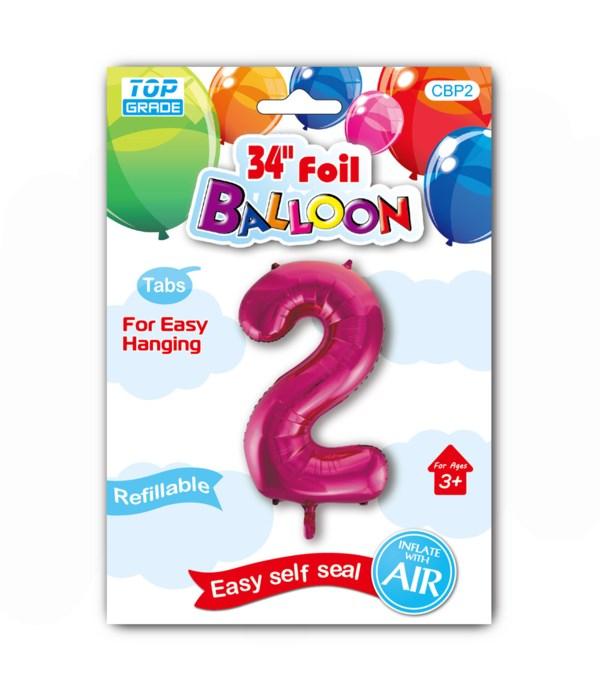 "34"" number balloon H.pink #2"