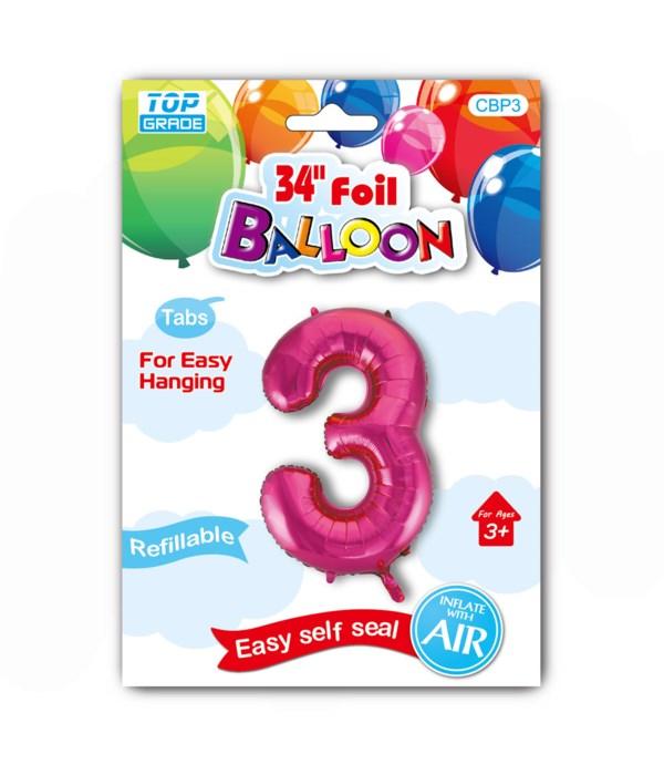 "34"" number balloon H.pink #3"
