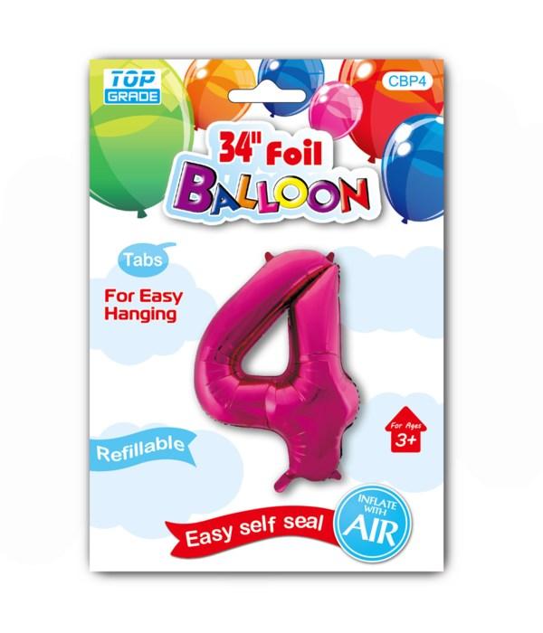 "34"" number balloon H.pink #4"