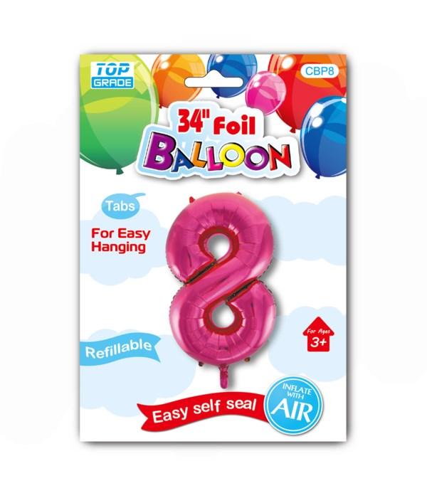 "34"" number balloon H.pink #8"
